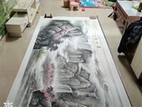 大丈二。名家山水手工画。装裱长四米二高一米七。非诚勿扰。