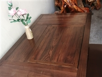 老榆木茶桌,配五张椅子1.5×0.8x0.8米