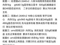 具体配置看图  所有机器成色都不错  都是新的机箱  需要加微信17863828903   不要打电...