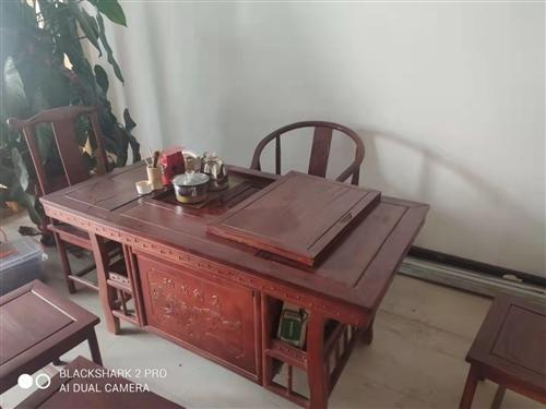 中式实木茶桌椅组合家用泡茶桌办公室功夫茶台茶几茶具套装一体  九成新,1000元出。本地自提。