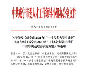"""关于印发《咸宁市;2021;年""""一村多名大学生计划"""";实施方案》"""