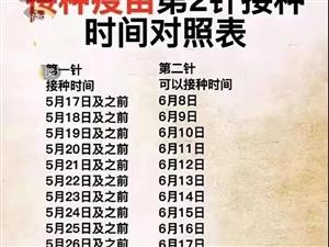 吕梁:第二针疫苗接种时间对照表