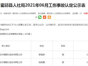 霍邱�h人社局2021年06月工��事故�J定公示表