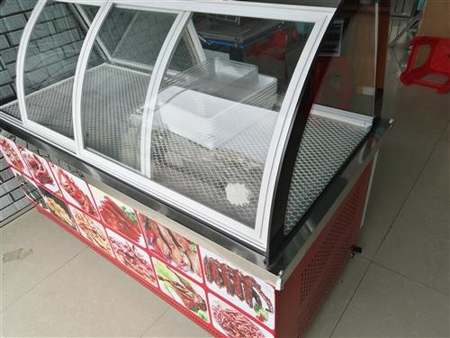 九成新熟食展示柜,上面展示,下面冰柜。才用了两个月,长1.6米,宽1米左右。