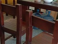 9成新3米*0.8米实木大理石茶几,配六张实木凳子