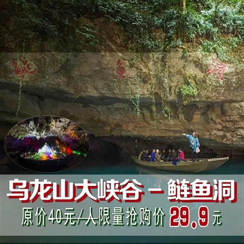 【周边游】29.9元抢原价40元乌龙山大峡谷-鲢鱼洞景点门票