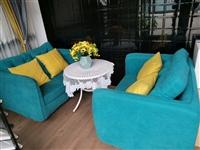1.2米布艺沙发两个+0.7米圆茶几1个共500元,不再议价,大港建材城2区9栋9号自提,13739...
