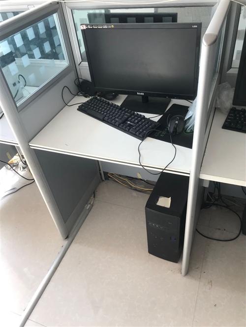 出售闲置80宽工位,一组十个工位,整组350。高背凳子九把,一把50元。i3办公电脑带19寸显示器,...