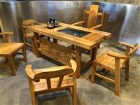 """一桌五椅9.5成新茶台""""大展宏图"""",坚固耐用,**大气,上档次,1.8米北榆木材质,因无场地,忍痛出..."""